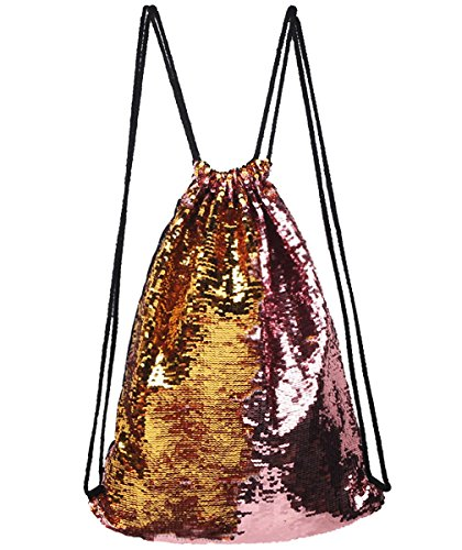 Mysticbags Mermaid Bag Sequin Drawstring Backpack Outdoor Shoulder Bag for Girls Pink Gold