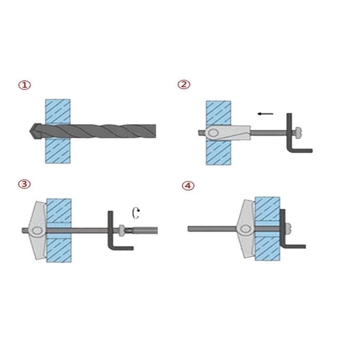 3mm x 50mm Male Thread Spring Screws Hollow plasterboard Cavity Wall Bolts