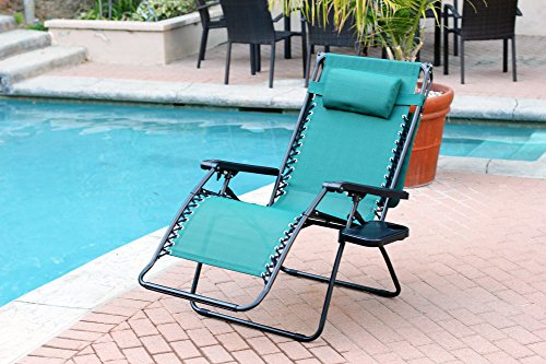 Jeco Set Of 2 Oversized Zero Gravity Chairs With Sunshade Green