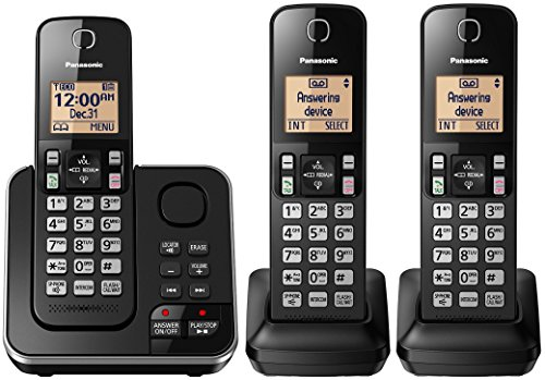 Panasonic KX-TGC363B / KX-TG633SK Dect 6.0 3 Handset Landline Telephone (Renewed) (KX-TGC362B +1) 900 Mhz Cordless Phones