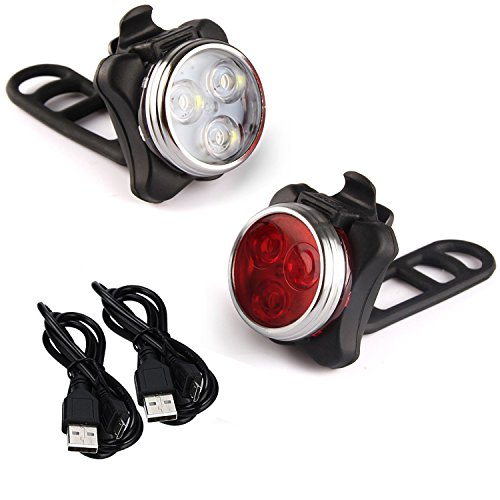Price comparison product image LED Bike Light Set, Arespark LED Rechargeable Headlight Taillight Combinations,Includes Front and Rear Bicycle Light Set, Bike Lights,2 USB Cables,4 Light Modes, 350lm,Water Resistant, IPX4