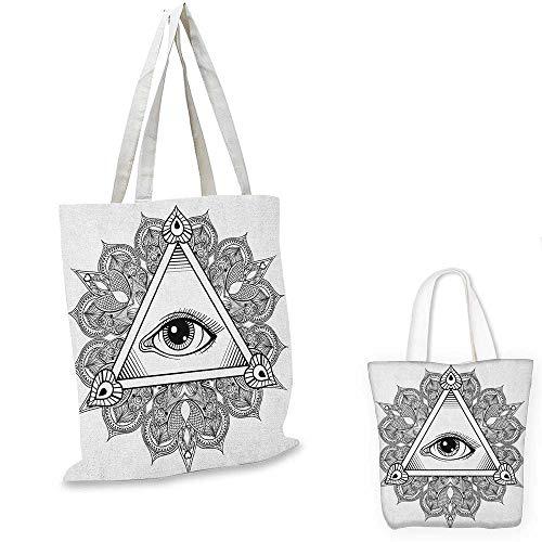 (Eye canvas shoulder bag Vintage All Seeing Eye Tattoo Symbol with Boho Mandala Providence Spirit Occultism canvas lunch bag Black White. 13