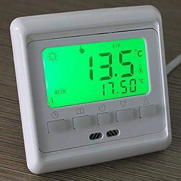 Bargain mundo LCD Botón Control de calefacción por suelo radiante Termostato calefacción por suelo radiante programable