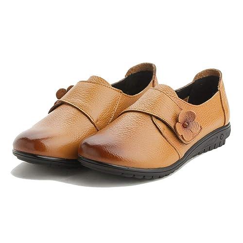 Flor Plana De Las Mujeres Zapatos Casuales OtoñO De Cuero De Vaca Punta Redonda Gancho Bucle Madre Mocasines Ocio Calzado: Amazon.es: Zapatos y complementos