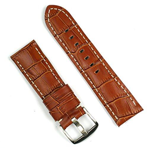 Honey Gator White-stitch 22mm Leather Watch Band for Panerai Short