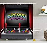 Eurag Video Games Shower Curtain Set, Arcade Machine Retro Gaming Fun Joystick Buttons Vintage 80's 90's Electronic, Fabric Bathroom Decor with Hooks, 69W X 72L Inches
