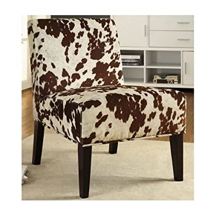 Delightful Cowhide Chair Armless Accent Chair Imitation Cow Hide Look Faux Fabric  Upholstery Animal Print Wooden Legs