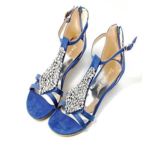JULY T Sandals Fashion Sandals Walking On Beaded Womens Slip Bohemia Blue Slide String Flat Zipper Ladies Dressy Comfy Back dHrSwqH