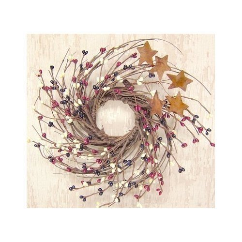 CWI Gifts Country Mix Small 10 Inch Wreath - Red White and Blue Pip Berries