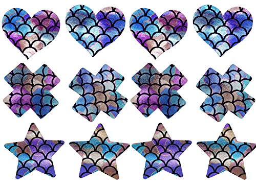 ((6 Pairs) Holographic Nipple Covers Self Adhesive Disposable Pasties Petals Rave Festival)