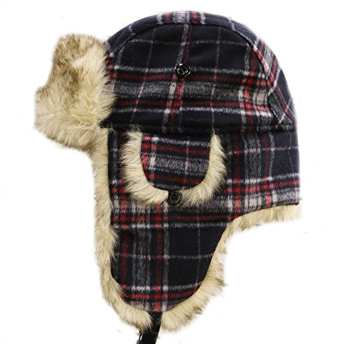 Aviator Bomber Hat (City Hunter W680 Wool Premium Solid Trapper Hats Multi Colors (Plaid Navy))