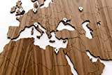 World Map Wall Art - Wooden World Map Decor/Wall Decoration/Wooden Decor for Living Room or Office for Travellers / 3D Decor/Murals Wall Art/DIY Wall Art (Nutwood, 51,1 x 30,7)