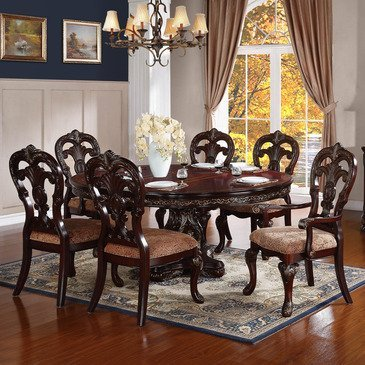 Homelegance Deryn Park 7 Piece Oval Pedestal Dining Room Set in Cherry Cherry Dining Room Pedestal