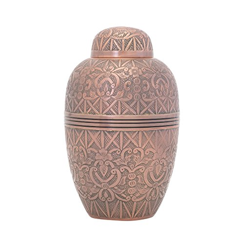 - two-4-five Cremation Urns for Human Ashes Copper Antique Dome Top Design