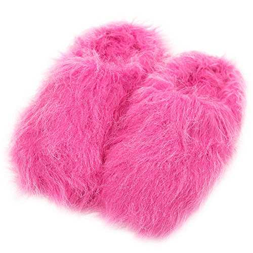 Casa Pantofole Donne Caldo Carino Lungo Pile In Peluche Casa Coperta Pantofole Spa Zoccoli Fuzzy Rosa