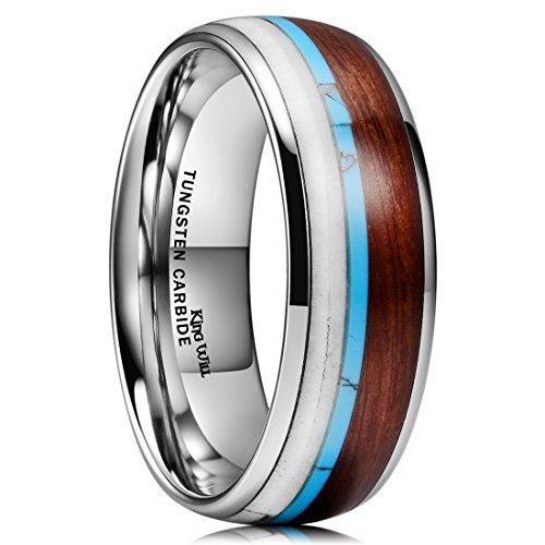 King Will NATURE Wood Calaite Inlay Dome Tungsten Carbide Wedding Ring Band Unisex Comfort (7 Mm Tungsten Dome)