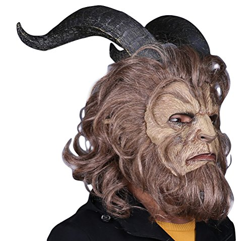 Beast Mask Latex, Halloween Adult Deluxe Funny Replica Headgear Party (Free -