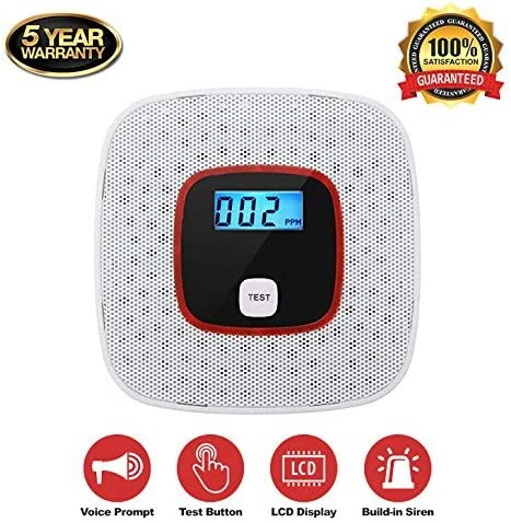 Carbon Monoxide Alarm Detector,with Digital LCD Display and Voice Warning – Battery powered