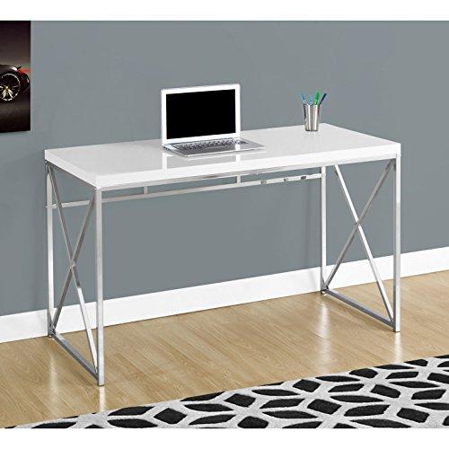"Monarch I 7205 Chrome Metal Computer Desk, 48"", Glossy White"