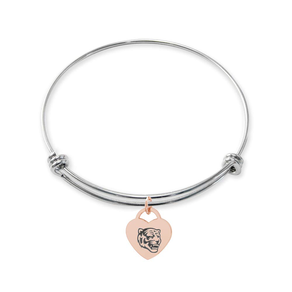 College Jewelry Memphis Tigers Stainless Steel Adjustable Bangle Bracelet with Rose Gold Plated Heart Charm
