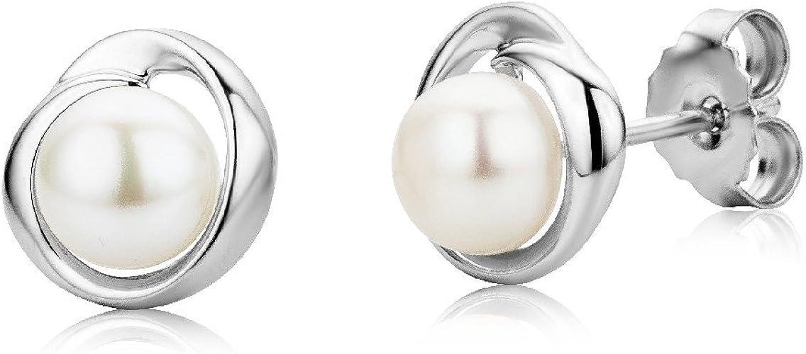Pendientes de Plata de Ley con Perlas para Mujer