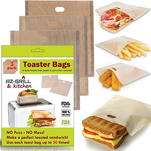 Toaster Bags Set of 3 Non-stick Teflon Reusable - Perfect for Grilled Cheese Sandwiches - Best Grill Cheese Bags - Toasted Sandwich Bags - Microwave Oven Toaster Bags Panini Toast Bags (Light Broun) (Best Grilled Cheese Sandwich)