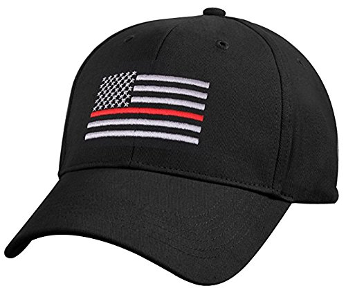 Adult Thin Red Line of Courage Embroidered Flag Black Ball Cap Support Firefighters