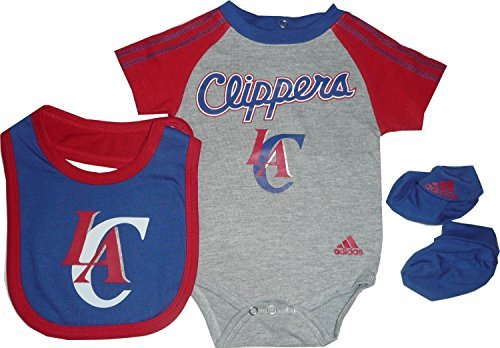 Los Angeles LA Clippers 3pc Creeper, Bib, Booties Set GRAY Infant Baby (6-9 Months)