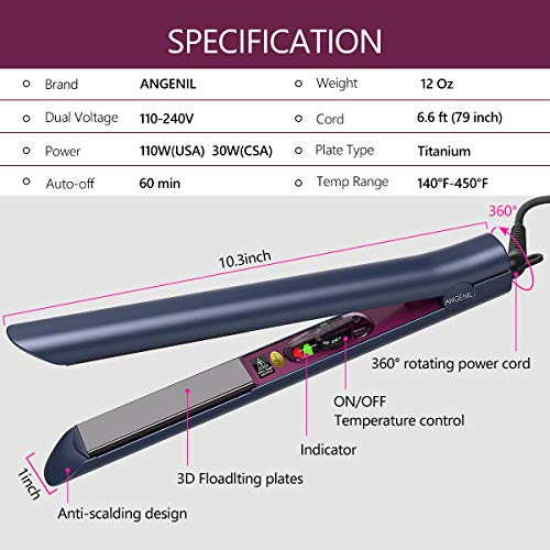 ANGENIL Hair Straightener and Curler in One, Titanium Straightener Flat Iron for All Hair Type, 1 Inch 3D Floating Plate, Adjustable Temperatures, Heat Resistant Mat Pouch & Gloves Included