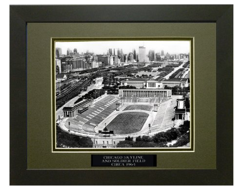 (Chicago Skyline and Soldier Field, Circa 1964. Professionally Matted an Framed 12x18 Photo to an 18x24)