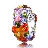 ATHENAIE Murano Glass 925 Silver Core Hawaiian Maui Floral Lei Charms Bead