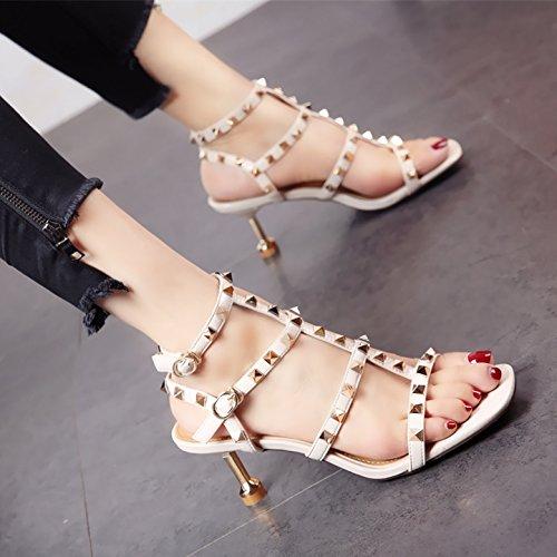 de b Toe Sexy Zapatos Europeo YMFIE Sandalias tacón de Temperamento Rocío Comfort Verano Moda Sexy Lady Remache xpXaxq8Aw