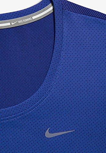 Nike Dri-Fit Contour Femme Courses à Pied T-shirt, Bleu, Taille XS