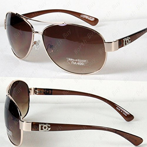 New DG Eyewear Aviator Fashion Designer Sunglasses Shades Mens Women Gold/Brown (Aviator Sunglasses Dg)