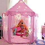 Princess Castle Play Tent for Children, Indoor Children Playhouse with Durable Bold PVC Stent Easy Folding, an Adorable Gift for All Girl (Pink)