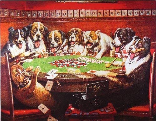 C.M. Coolidge Poker Sympathy Dogs Playing Poker Tin Sign Tin Sign 7.8X11.8 Inch: Amazon.es: Hogar