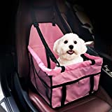 GENORTH Dog Car Seat Upgrade Deluxe Portable Pet Dog Booster Car Seat with Clip-On Safety Leash and Dog Blanket,Perfect for Small Pets(Pink)
