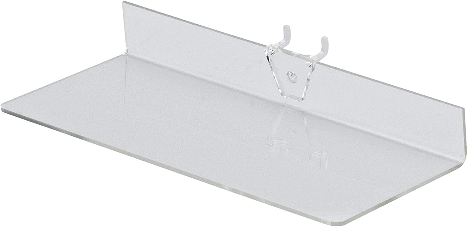 """Box of 4 New Retails Acrylic Clear Shelves for Pegboard 9""""L x 4""""W"""