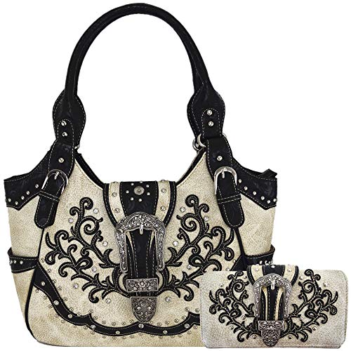 Western Style Tooled Leather Buckle Concealed Carry Purse Country Handbag Women Shoulder Bag Wallet Set (Beige Set)