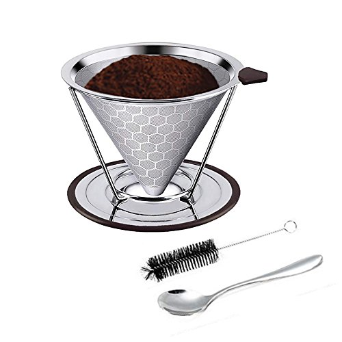 Reusable Stainless Steel Coffee Filter – AINOK Stainless Steel Pour Over Coffee Dripper with Double Layered Filter,Reusable Coffee Filter with Removable Cup Stand,Brush and spoon. by AINOK