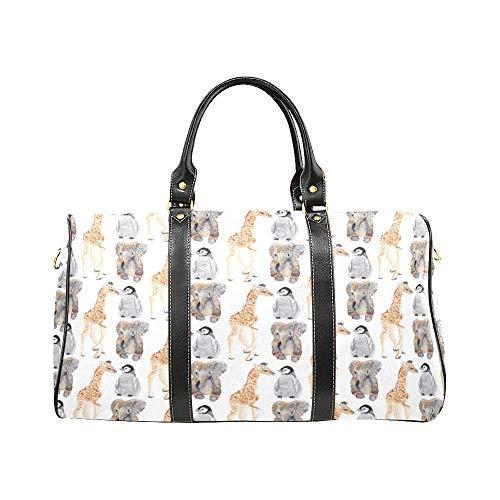 (Leather Luggage Travel Carrying Bag, Stylish White Giraffe Penguin Elephant Print Design Waterproof Shoulder Handbag)