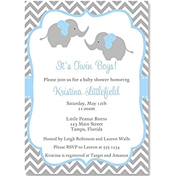 Amazon twin toes baby shower invitations set of 20 baby chevron elephant twins baby shower invitation chevron blue gray white baby shower elephant baby shower twins 10 custom invites with envelopes filmwisefo