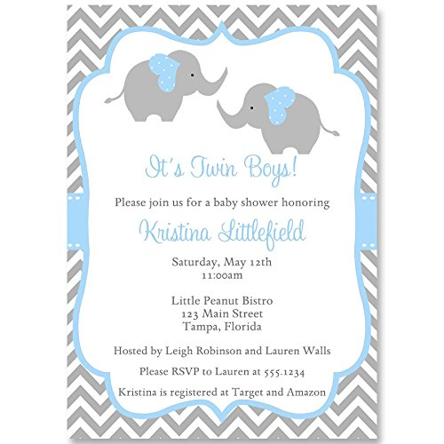 Elephant Baby Shower, Invitation, Twins, Chevron, Blue, Gray, Baby Shower Invites, It's Twins, Boys, Stripes, 10 Pack Custom Invites with White Envelopes