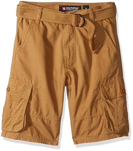 Southpole - Kids Boys' Big' Belted Mini Canvas Cargo Shorts in in, Wheat 2, 16