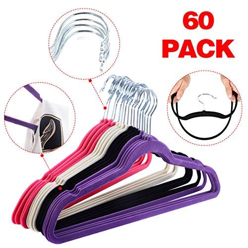 60 pcs Non Slip Hangers Pack Set in White, Black, Purple, and Pink for Velvet Clothes Garment, Pants, Coats, Skirts, Suits, Children Cloths Hanger Rack Organizer Chrome Hooks Storage Closet Towel