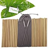 Set of 20 Bamboo Straws by BeeGreeny – 8 Inches Natural Reusable Drinking Straw - with 2 Cleaning Brushes & Storage Pouch – Eco-Friendly Replacement for Plastic Ones