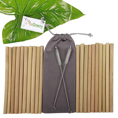 Set of 20 Bamboo Straws by BeeGreeny - 8 Inches Natural Reusable Drinking Straw - with 2 Cleaning Brushes & Storage Pouch - Eco-Friendly Replacement for Plastic Ones