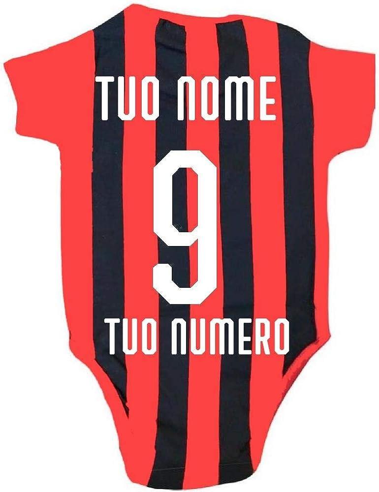 Milan PS 12685 Personalizzabile Nome e Numero Body Neonato Milan Rosso Nero Abbigliamento Ufficiale AC
