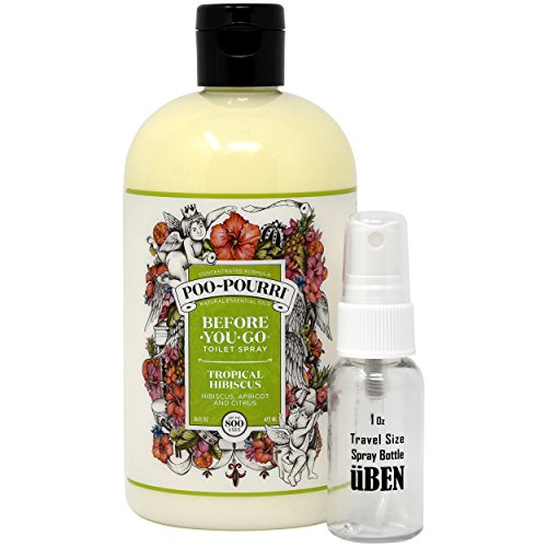 Poo-Pourri Before-You-Go Toilet Spray 16-Ounce Refill Bottle, Tropical Hibiscus.
