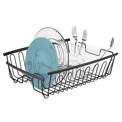 (mDesign Large Kitchen Countertop, Sink Dish Drying Rack with Removable Cutlery Tray - Drain and Dry Wine Glasses, Bowls and Dishes - 2 Pieces - Matte Black Metal Wire/Clear BPA Free Cutlery Caddy)